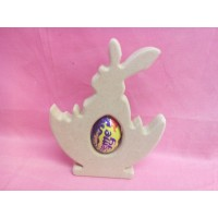 18mm MDF Easter Rabbit in a basket cream egg holder